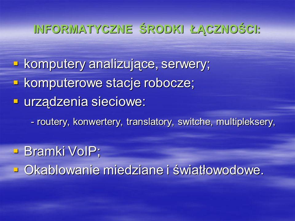 INFORMATYCZNE ŚRODKI ŁĄCZNOŚCI: komputery analizujące, serwery; komputery analizujące, serwery; komputerowe stacje robocze; komputerowe stacje robocze; urządzenia sieciowe: urządzenia sieciowe: - routery, konwertery, translatory, switche, multipleksery, - routery, konwertery, translatory, switche, multipleksery, Bramki VoIP; Bramki VoIP; Okablowanie miedziane i światłowodowe.