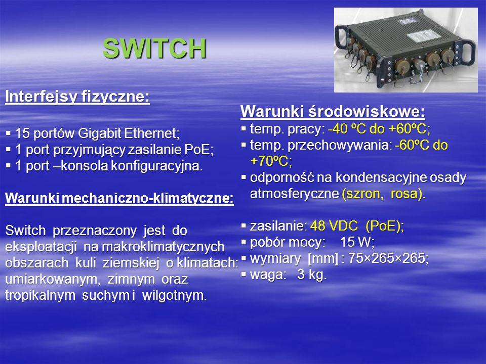 SWITCH SWITCH Interfejsy fizyczne: 15 portów Gigabit Ethernet; 15 portów Gigabit Ethernet; 1 port przyjmujący zasilanie PoE; 1 port przyjmujący zasilanie PoE; 1 port –konsola konfiguracyjna.