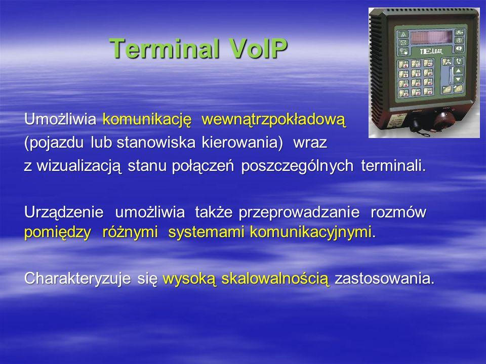 Terminal VoIP Terminal VoIP Umożliwia komunikację wewnątrzpokładową (pojazdu lub stanowiska kierowania) wraz z wizualizacją stanu połączeń poszczególnych terminali.