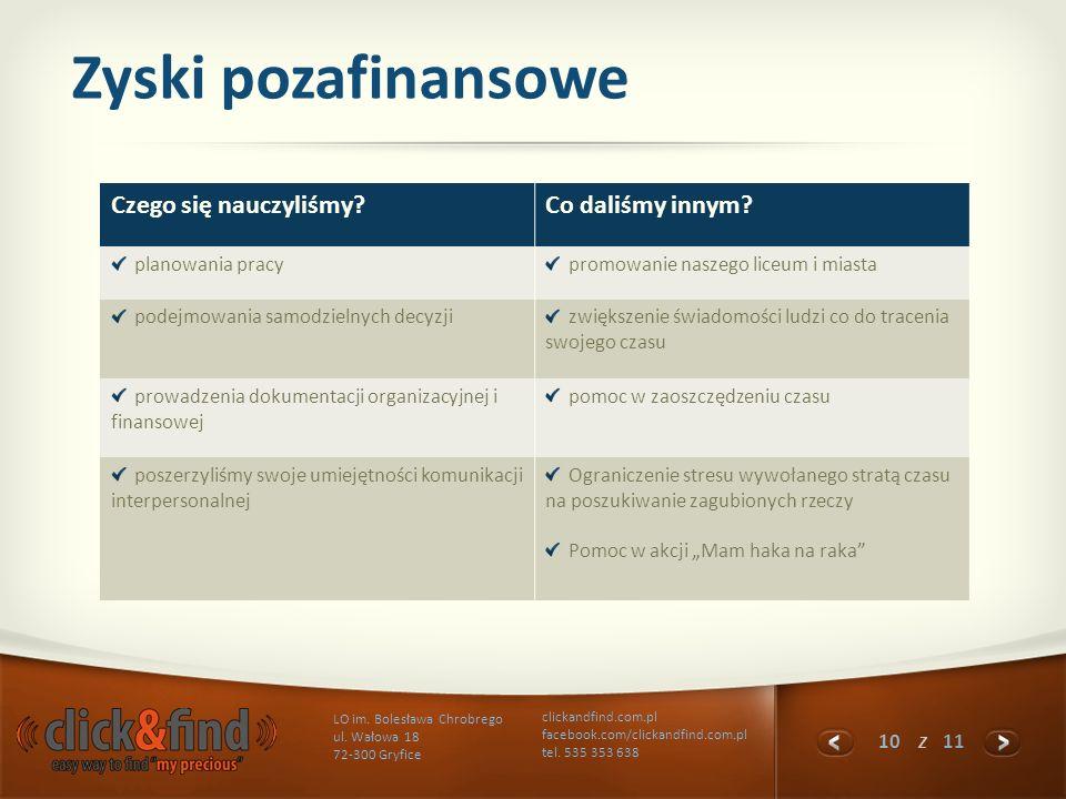 10 z 11 LO im. Bolesława Chrobrego ul. Wałowa 18 72-300 Gryfice clickandfind.com.pl facebook.com/clickandfind.com.pl tel. 535 353 638 Zyski pozafinans