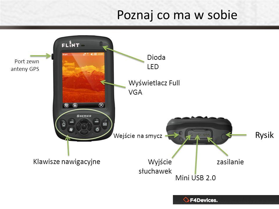 Poznaj co ma w sobie Klawisze nawigacyjne Port zewn anteny GPS Wyjście słuchawek Wyświetlacz Full VGA Dioda LED Mini USB 2.0 zasilanie Rysik Wejście na smycz
