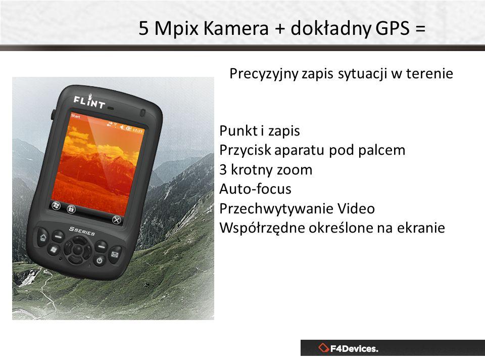 Precyzyjny zapis sytuacji w terenie 5 Mpix Kamera + dokładny GPS = Punkt i zapis Przycisk aparatu pod palcem 3 krotny zoom Auto-focus Przechwytywanie Video Współrzędne określone na ekranie