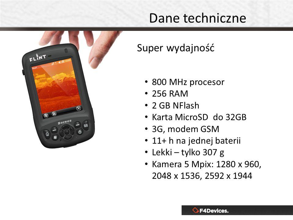 800 MHz procesor 256 RAM 2 GB NFlash Karta MicroSD do 32GB 3G, modem GSM 11+ h na jednej baterii Lekki – tylko 307 g Kamera 5 Mpix: 1280 x 960, 2048 x
