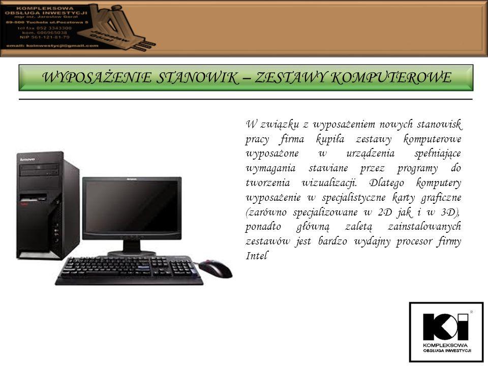 W związku z wyposażeniem nowych stanowisk pracy firma kupiła zestawy komputerowe wyposażone w urządzenia spełniające wymagania stawiane przez programy do tworzenia wizualizacji.