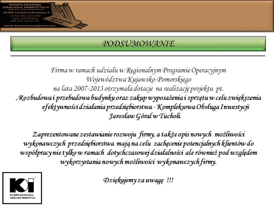 Firma w ramach udziału w Regionalnym Programie Operacyjnym Województwa Kujawsko-Pomorskiego na lata 2007-2013 otrzymała dotacje na realizację projektu pt.