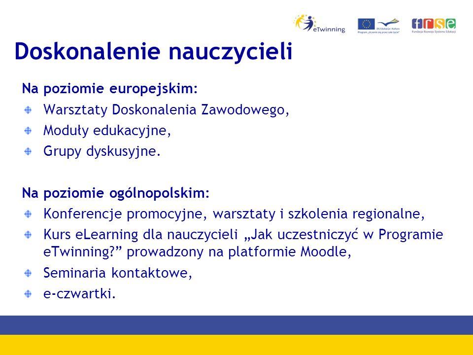 Doskonalenie nauczycieli Na poziomie europejskim: Warsztaty Doskonalenia Zawodowego, Moduły edukacyjne, Grupy dyskusyjne.