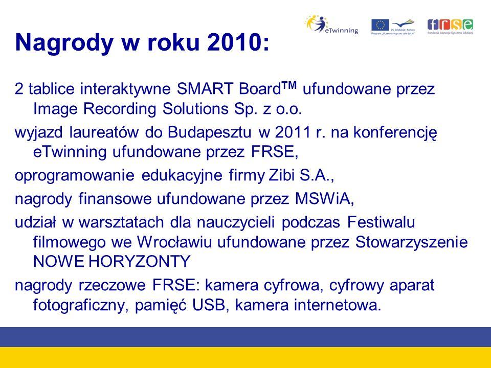 Nagrody w roku 2010: 2 tablice interaktywne SMART Board TM ufundowane przez Image Recording Solutions Sp.