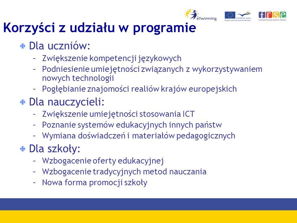 Korzyści z udziału w programie Dla uczniów: –Zwiększenie kompetencji językowych –Podniesienie umiejętności związanych z wykorzystywaniem nowych technologii –Pogłębianie znajomości realiów krajów europejskich Dla nauczycieli: –Zwiększenie umiejętności stosowania ICT –Poznanie systemów edukacyjnych innych państw –Wymiana doświadczeń i materiałów pedagogicznych Dla szkoły: –Wzbogacenie oferty edukacyjnej –Wzbogacenie tradycyjnych metod nauczania –Nowa forma promocji szkoły