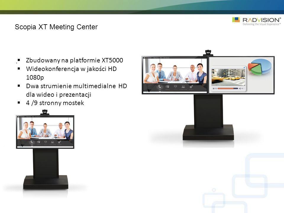 Scopia XT Meeting Center. Zbudowany na platformie XT5000 Wideokonferencja w jakości HD 1080p Dwa strumienie multimedialne HD dla wideo i prezentacji 4