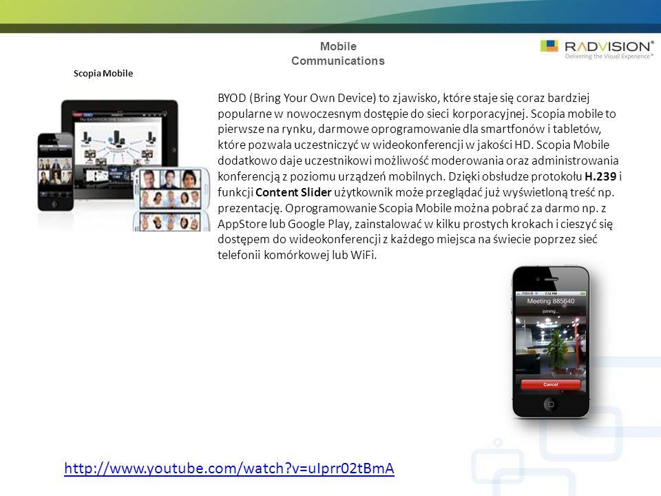 Mobile Communications Scopia Mobile BYOD (Bring Your Own Device) to zjawisko, które staje się coraz bardziej popularne w nowoczesnym dostępie do sieci