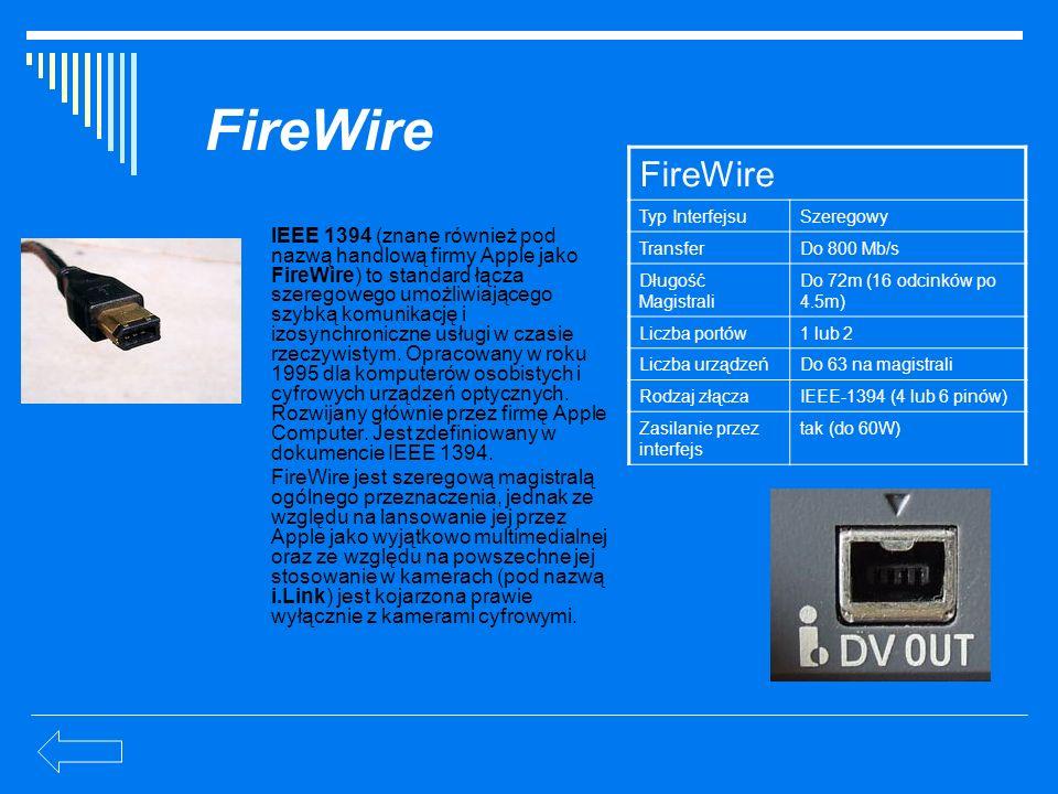 FireWire IEEE 1394 (znane również pod nazwą handlową firmy Apple jako FireWire) to standard łącza szeregowego umożliwiającego szybką komunikację i izo