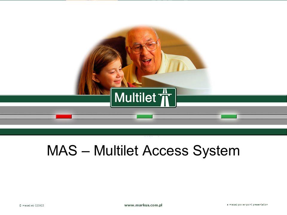 a macab power point presentation© macab ab 020916 MAS – Multilet Access System www.markus.com.pl a macab power point presentation © macab ab 020923
