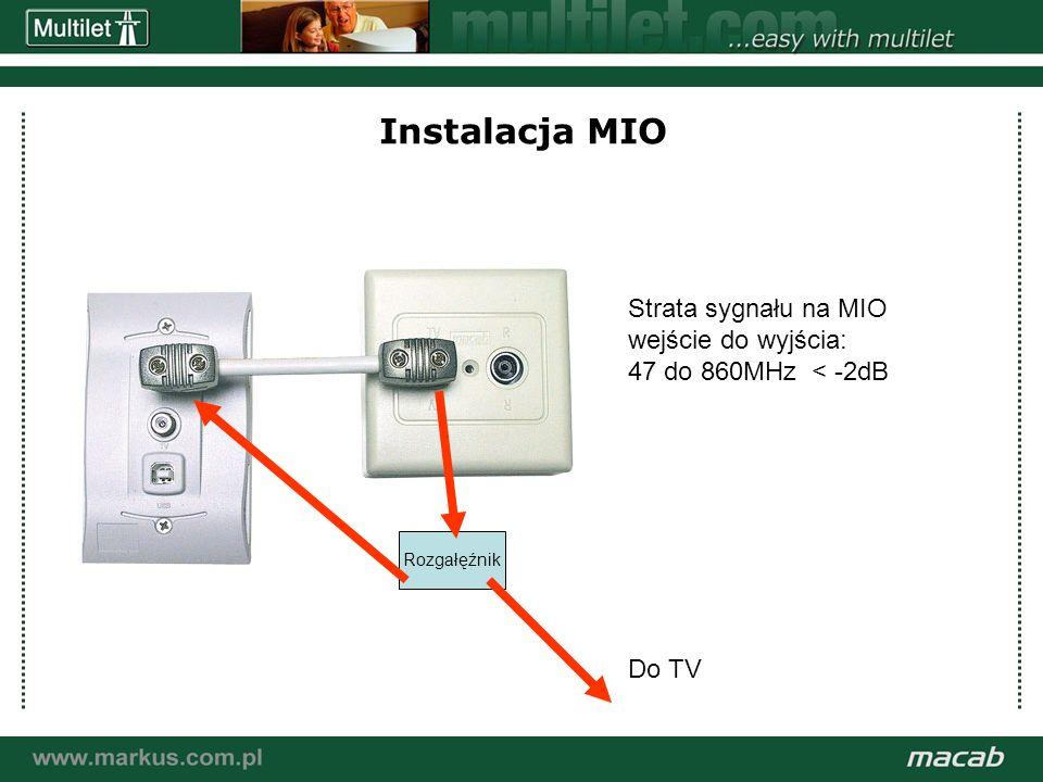 a macab power point presentation© macab ab 020916 Instalacja MIO Rozgałęźnik Do TV Strata sygnału na MIO wejście do wyjścia: 47 do 860MHz < -2dB