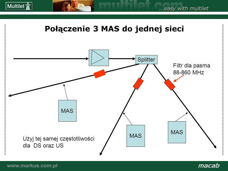 a macab power point presentation© macab ab 020916 Połączenie 3 MAS do jednej sieci MAS Splitter Filtr dla pasma 88-860 MHz Użyj tej samej częstotliwości dla DS oraz US