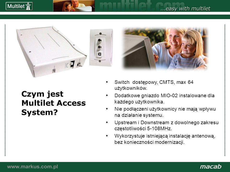 a macab power point presentation© macab ab 020916 Wykorzystanie pasywnej instalacji kablowej: Dowolona częstotliwość z zakresu 5-108MHz może być wykorzystana dla US i Downstream Możliwość wykorzystania pasma przejściowego oraz FM Mała ilość użytkowników niski poziom zakłóceń użyj 5-16MHz Max dystans 5000m Max poziom wyjściowy 110dBµV (transmisja) i min poziom 40dBuV (odbiór) =70dB zakres dynamiki.