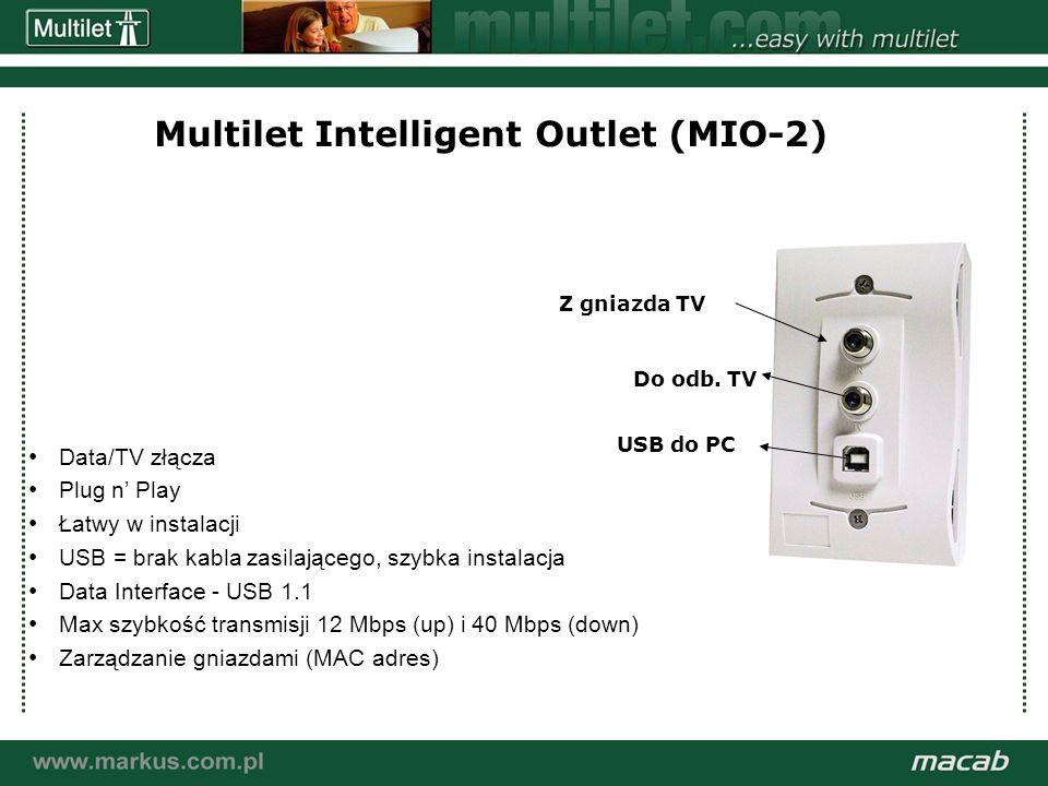 a macab power point presentation© macab ab 020916 Multilet Intelligent Outlet (MIO-2) Data/TV złącza Plug n Play Łatwy w instalacji USB = brak kabla zasilającego, szybka instalacja Data Interface - USB 1.1 Max szybkość transmisji 12 Mbps (up) i 40 Mbps (down) Zarządzanie gniazdami (MAC adres) Z gniazda TV Do odb.