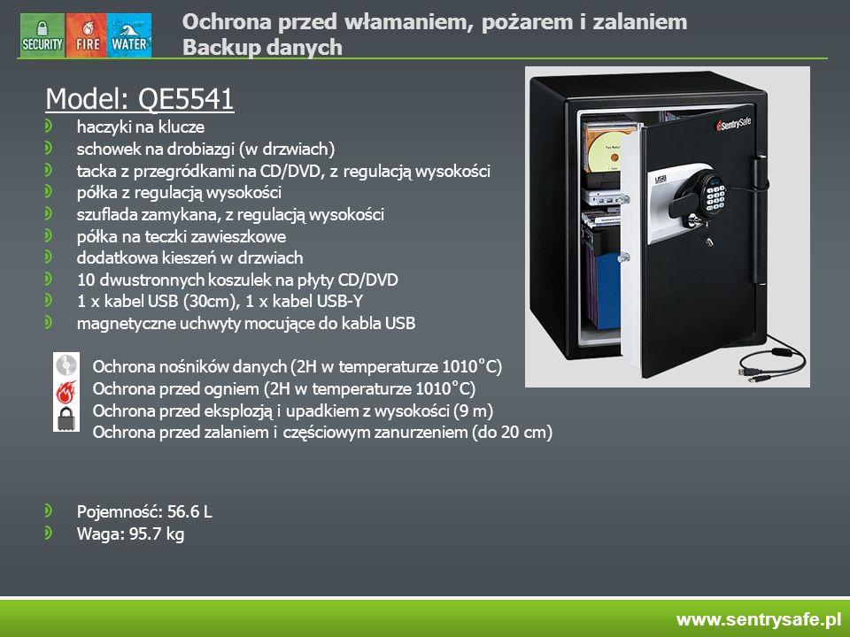 Ochrona przed włamaniem, pożarem i zalaniem Backup danych Model: QE5541 haczyki na klucze schowek na drobiazgi (w drzwiach) tacka z przegródkami na CD/DVD, z regulacją wysokości półka z regulacją wysokości szuflada zamykana, z regulacją wysokości półka na teczki zawieszkowe dodatkowa kieszeń w drzwiach 10 dwustronnych koszulek na płyty CD/DVD 1 x kabel USB (30cm), 1 x kabel USB-Y magnetyczne uchwyty mocujące do kabla USB Ochrona nośników danych (2H w temperaturze 1010˚C) Ochrona przed ogniem (2H w temperaturze 1010˚C) Ochrona przed eksplozją i upadkiem z wysokości (9 m) Ochrona przed zalaniem i częściowym zanurzeniem (do 20 cm) Pojemność: 56.6 L Waga: 95.7 kg www.sentrysafe.pl