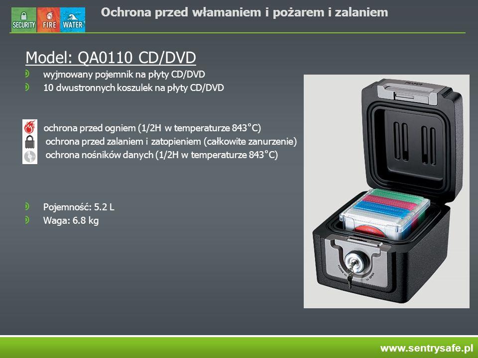 Ochrona przed włamaniem i pożarem i zalaniem Model: QA0110 CD/DVD wyjmowany pojemnik na płyty CD/DVD 10 dwustronnych koszulek na płyty CD/DVD ochrona przed ogniem (1/2H w temperaturze 843˚C) ochrona przed zalaniem i zatopieniem (całkowite zanurzenie) ochrona nośników danych (1/2H w temperaturze 843˚C) Pojemność: 5.2 L Waga: 6.8 kg www.sentrysafe.pl
