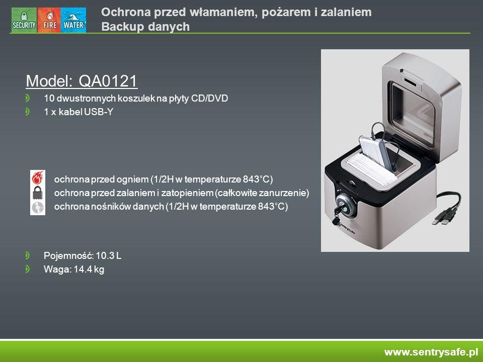 Ochrona przed włamaniem, pożarem i zalaniem Backup danych Model: QA0121 10 dwustronnych koszulek na płyty CD/DVD 1 x kabel USB-Y ochrona przed ogniem (1/2H w temperaturze 843˚C) ochrona przed zalaniem i zatopieniem (całkowite zanurzenie) ochrona nośników danych (1/2H w temperaturze 843˚C) Pojemność: 10.3 L Waga: 14.4 kg www.sentrysafe.pl