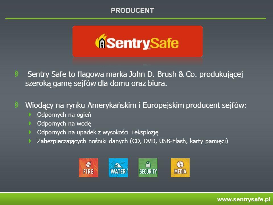 PRODUCENT Sentry Safe to flagowa marka John D. Brush & Co. produkującej szeroką gamę sejfów dla domu oraz biura. Wiodący na rynku Amerykańskim i Europ