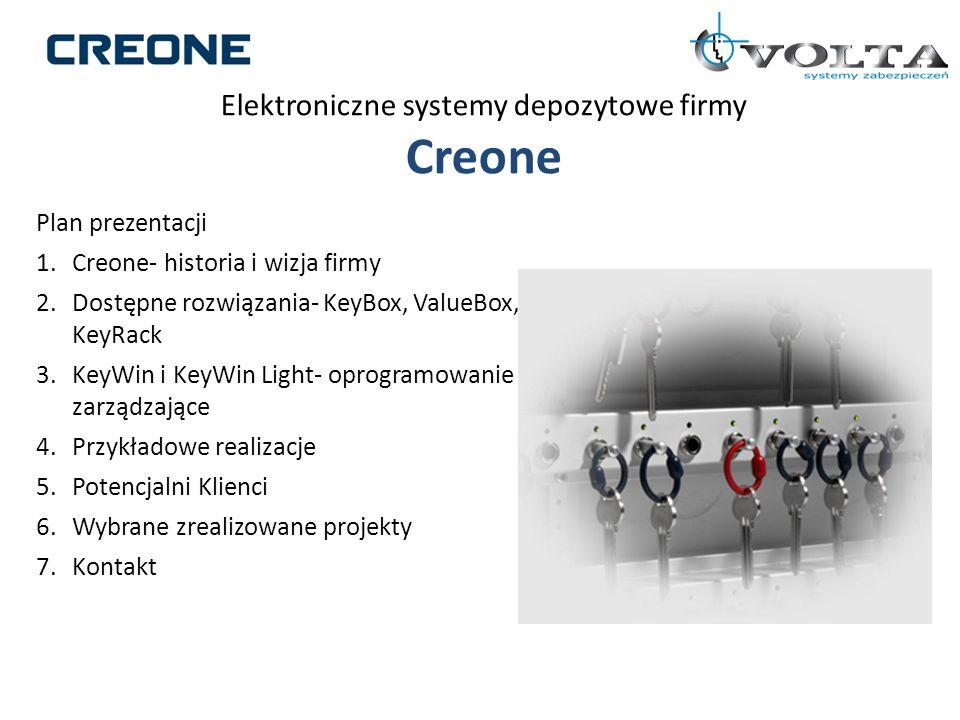 Elektroniczne systemy depozytowe firmy Creone Plan prezentacji 1.Creone- historia i wizja firmy 2.Dostępne rozwiązania- KeyBox, ValueBox, KeyRack 3.Ke