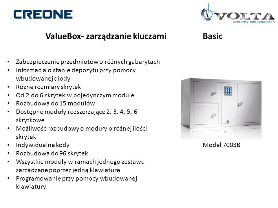 ValueBox- zarządzanie kluczamiBasic Zabezpieczenie przedmiotów o różnych gabarytach Informacja o stanie depozytu przy pomocy wbudowanej diody Różne ro