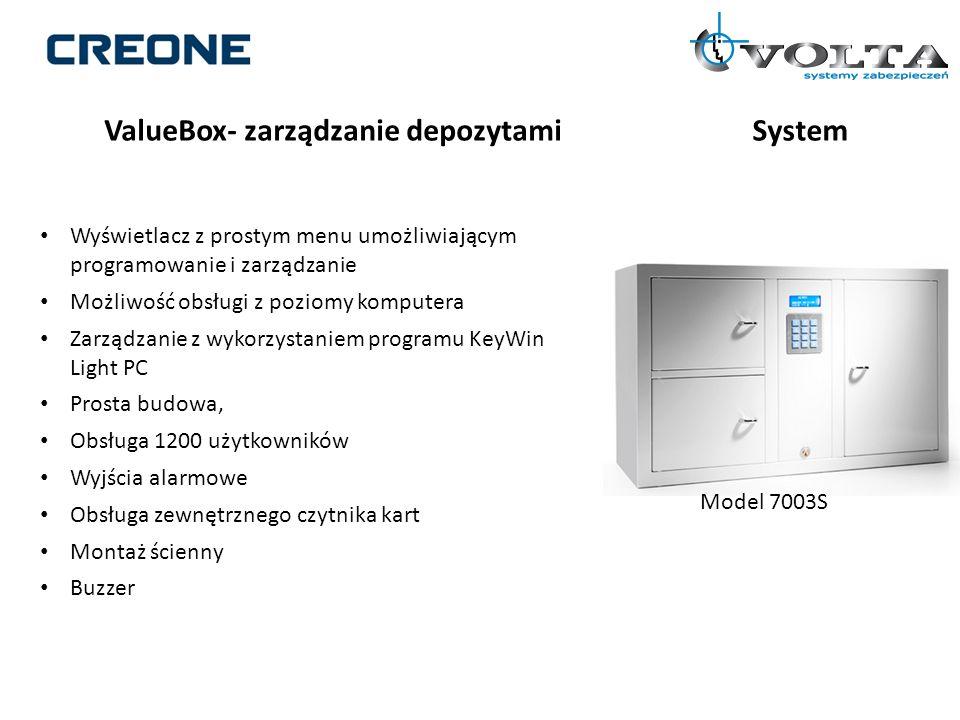 ValueBox- zarządzanie depozytamiSystem Wyświetlacz z prostym menu umożliwiającym programowanie i zarządzanie Możliwość obsługi z poziomy komputera Zar