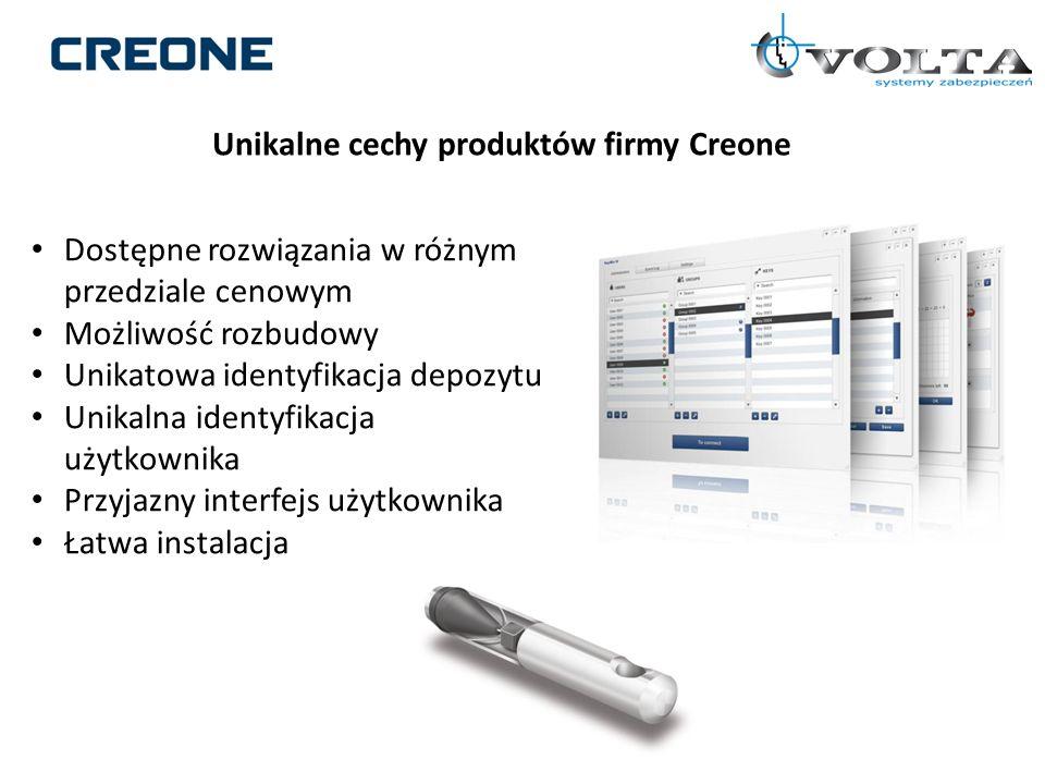 Unikalne cechy produktów firmy Creone Dostępne rozwiązania w różnym przedziale cenowym Możliwość rozbudowy Unikatowa identyfikacja depozytu Unikalna i
