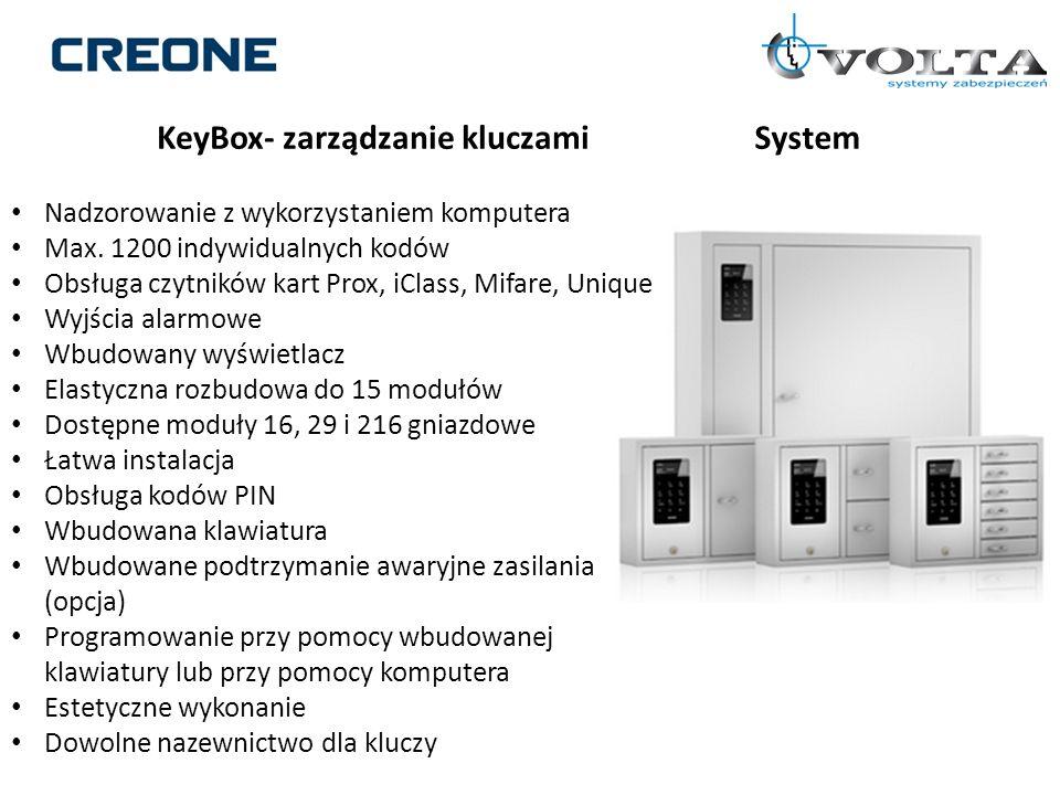 KeyBox- zarządzanie kluczamiSystem Nadzorowanie z wykorzystaniem komputera Max. 1200 indywidualnych kodów Obsługa czytników kart Prox, iClass, Mifare,