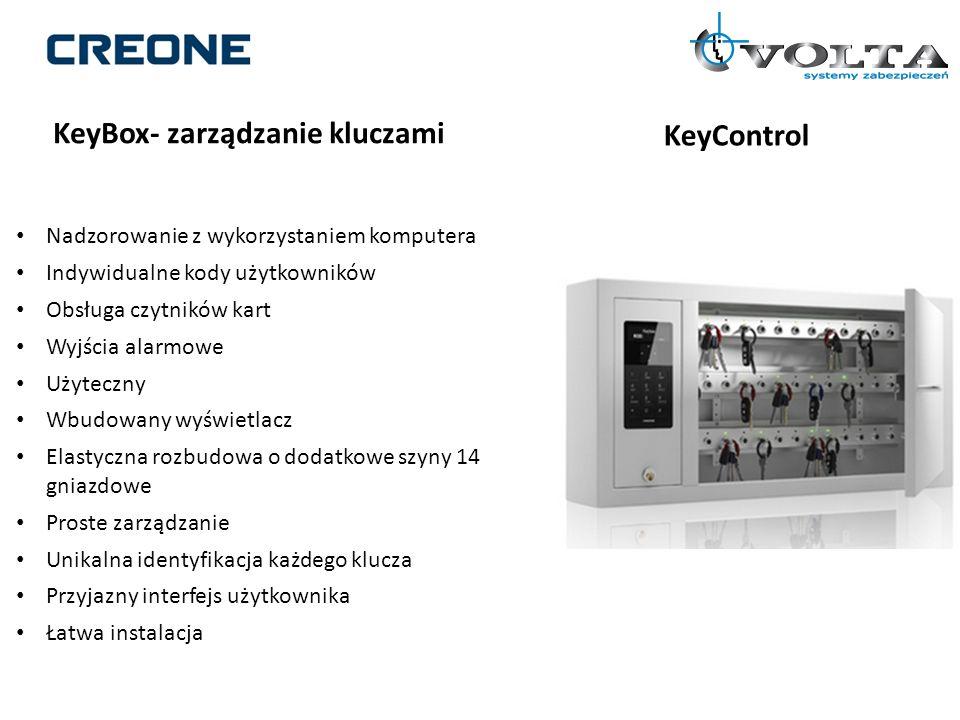 KeyBox- zarządzanie kluczami KeyControl Nadzorowanie z wykorzystaniem komputera Indywidualne kody użytkowników Obsługa czytników kart Wyjścia alarmowe