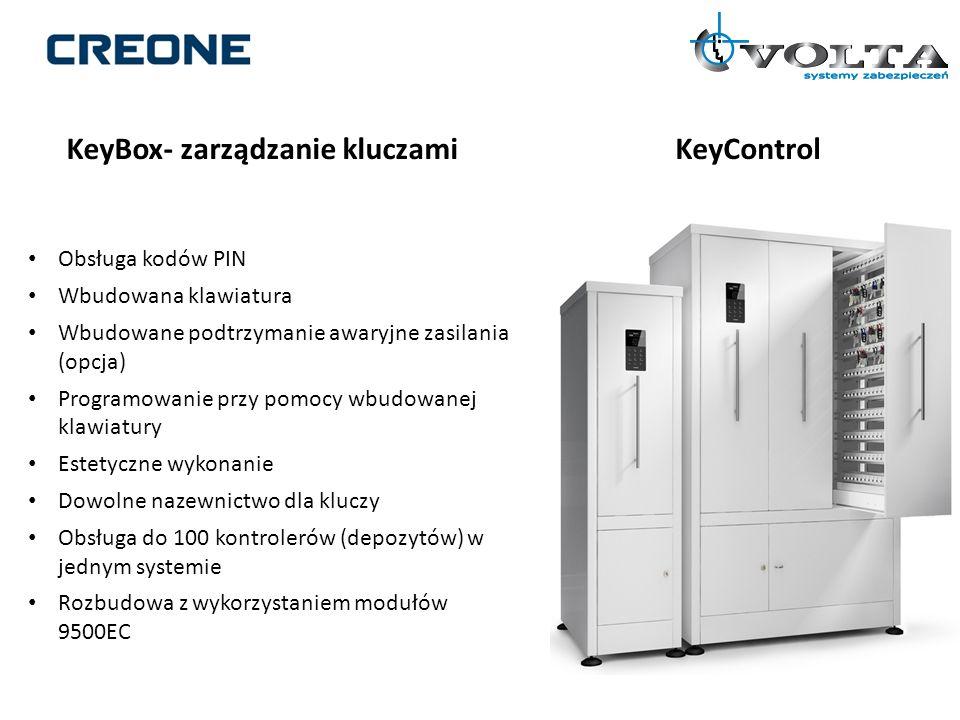 KeyBox- zarządzanie kluczamiKeyControl Obsługa kodów PIN Wbudowana klawiatura Wbudowane podtrzymanie awaryjne zasilania (opcja) Programowanie przy pom
