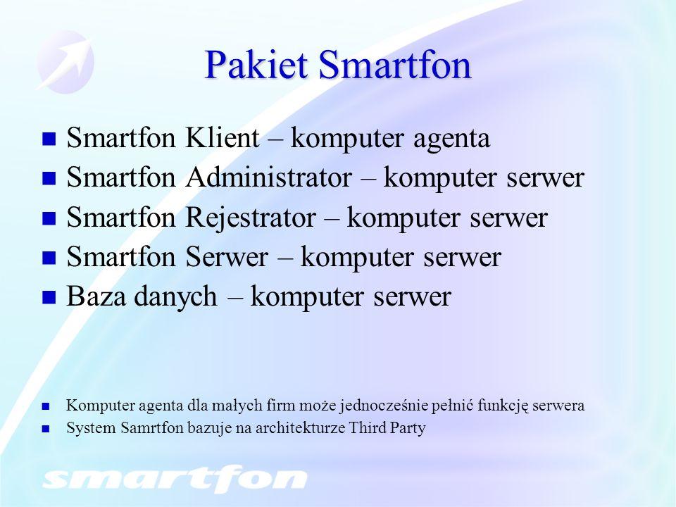 Pakiet Smartfon Smartfon Klient – komputer agenta Smartfon Administrator – komputer serwer Smartfon Rejestrator – komputer serwer Smartfon Serwer – ko