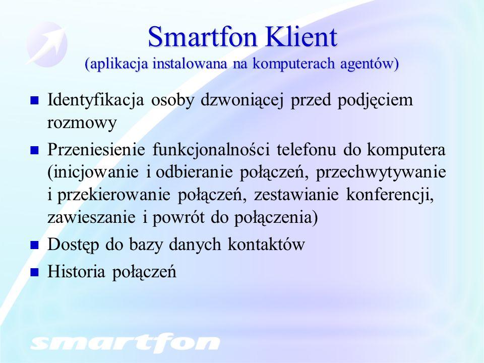 Smartfon Klient (aplikacja instalowana na komputerach agentów) Identyfikacja osoby dzwoniącej przed podjęciem rozmowy Przeniesienie funkcjonalności te