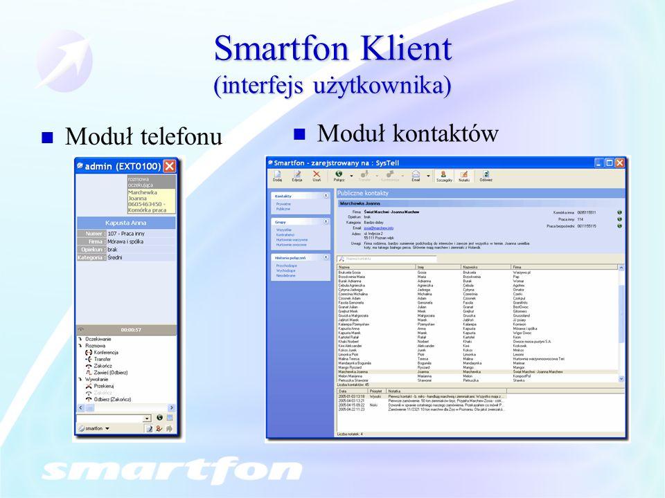 Smartfon Klient (interfejs użytkownika) Moduł telefonu Moduł kontaktów