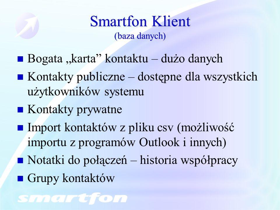 Smartfon Klient (baza danych) Bogata karta kontaktu – dużo danych Kontakty publiczne – dostępne dla wszystkich użytkowników systemu Kontakty prywatne