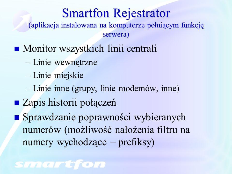 Smartfon Rejestrator (aplikacja instalowana na komputerze pełniącym funkcję serwera) Monitor wszystkich linii centrali –Linie wewnętrzne –Linie miejsk