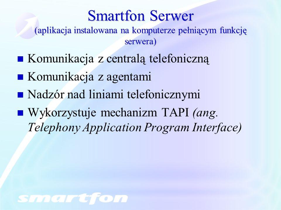 Smartfon Serwer (aplikacja instalowana na komputerze pełniącym funkcję serwera) Komunikacja z centralą telefoniczną Komunikacja z agentami Nadzór nad