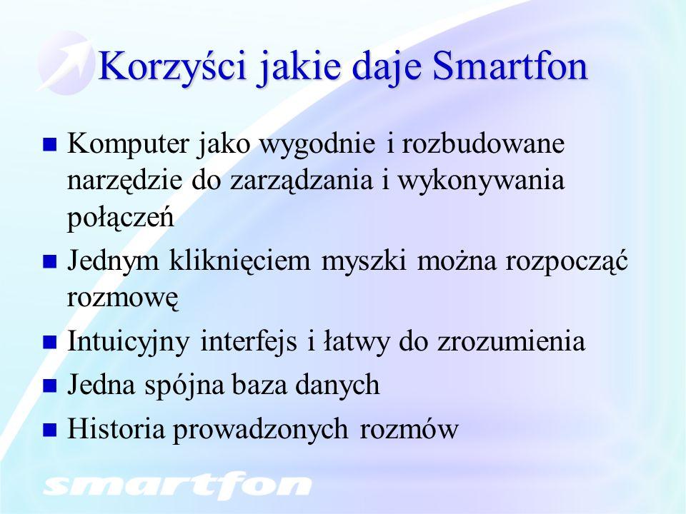 Korzyści jakie daje Smartfon Komputer jako wygodnie i rozbudowane narzędzie do zarządzania i wykonywania połączeń Jednym kliknięciem myszki można rozp