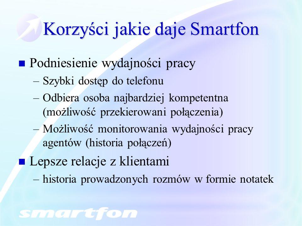 Korzyści jakie daje Smartfon Podniesienie wydajności pracy –Szybki dostęp do telefonu –Odbiera osoba najbardziej kompetentna (możliwość przekierowani