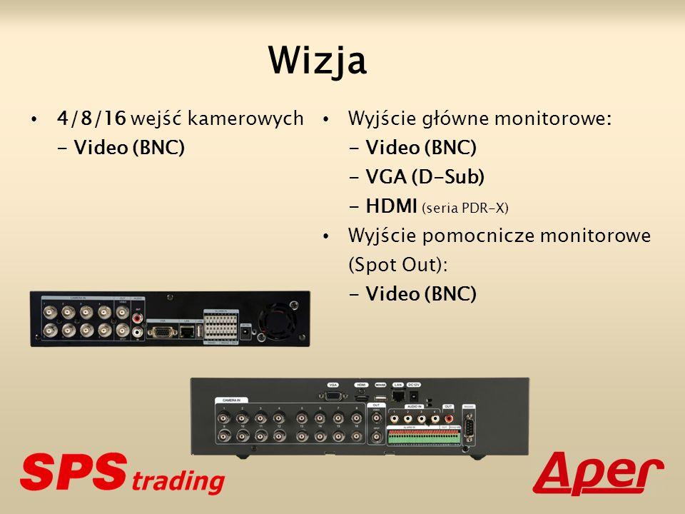 Wizja 4/8/16 wejść kamerowych - Video (BNC) Wyjście główne monitorowe: - Video (BNC) - VGA (D-Sub) - HDMI (seria PDR-X) Wyjście pomocnicze monitorowe