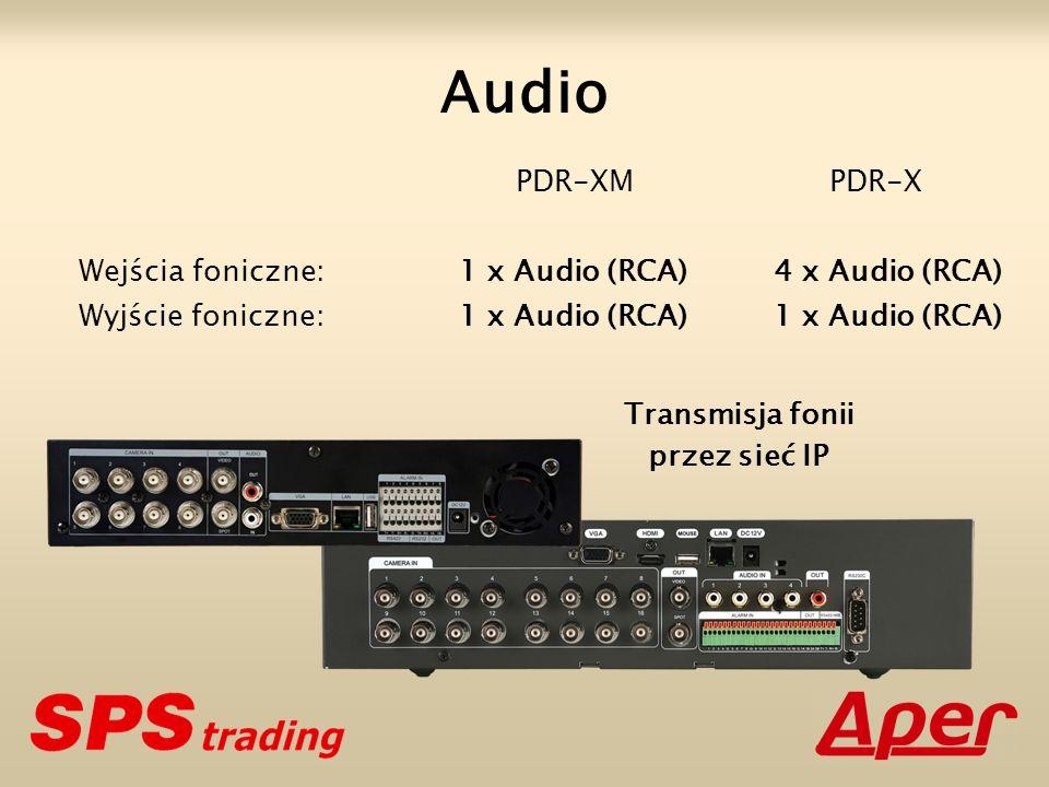 PDR-XM PDR-X Wejścia foniczne: 1 x Audio (RCA) 4 x Audio (RCA) Wyjście foniczne: 1 x Audio (RCA) 1 x Audio (RCA) Audio Transmisja fonii przez sieć IP