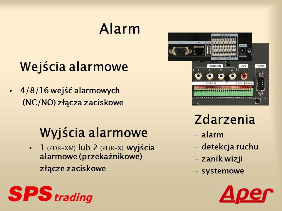 Wejścia alarmowe 4/8/16 wejść alarmowych (NC/NO) złącza zaciskowe Wyjścia alarmowe 1 (PDR-XM) lub 2 (PDR-X) wyjścia alarmowe (przekaźnikowe) złącze za