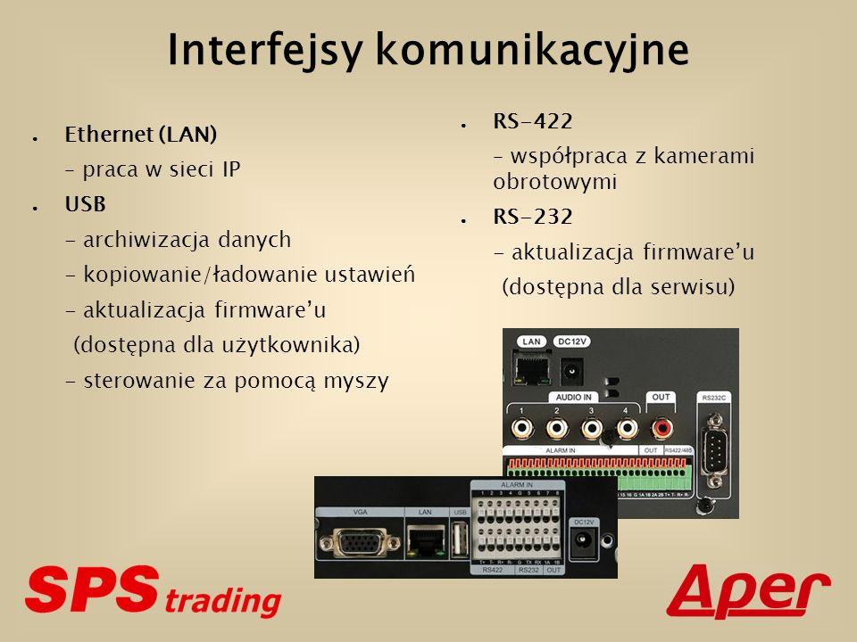 Interfejsy komunikacyjne Ethernet (LAN) – praca w sieci IP USB - archiwizacja danych - kopiowanie/ładowanie ustawień - aktualizacja firmwareu (dostępn