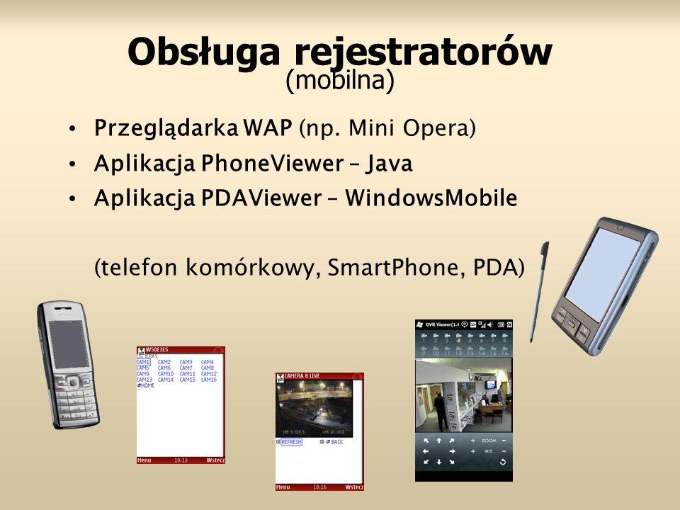 Obsługa rejestratorów (mobilna) Przeglądarka WAP (np. Mini Opera) Aplikacja PhoneViewer – Java Aplikacja PDAViewer – WindowsMobile (telefon komórkowy,