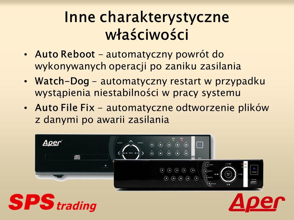 Inne charakterystyczne właściwości Auto Reboot - automatyczny powrót do wykonywanych operacji po zaniku zasilania Watch-Dog - automatyczny restart w p