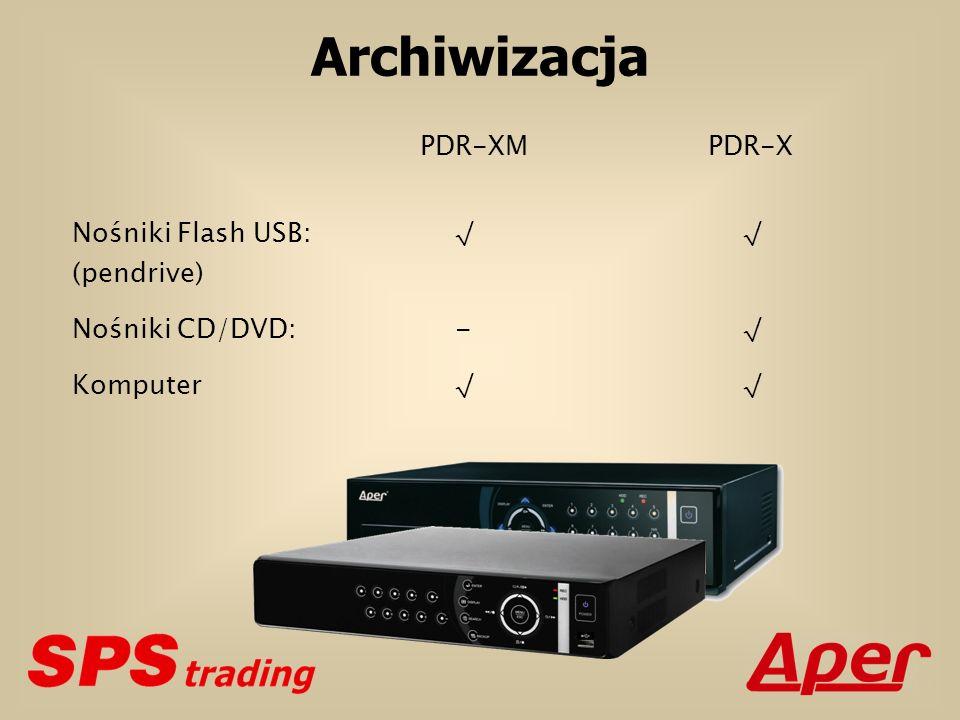 Archiwizacja PDR-XMPDR-X Nośniki Flash USB: (pendrive) Nośniki CD/DVD: - Komputer