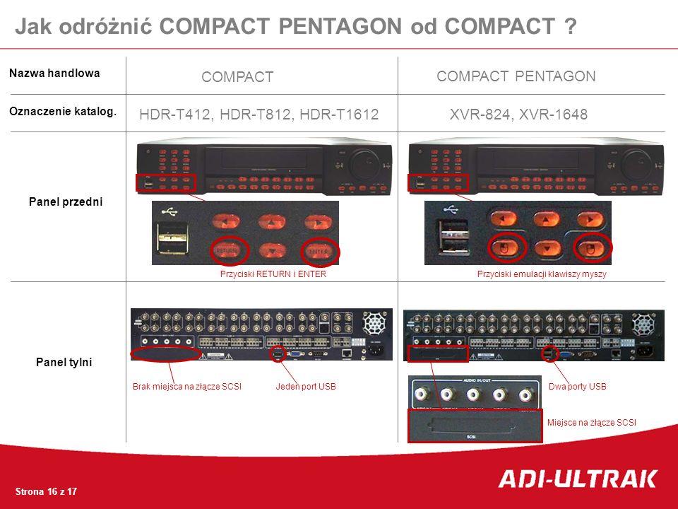 Jak odróżnić COMPACT PENTAGON od COMPACT ? COMPACT COMPACT PENTAGON Nazwa handlowa Oznaczenie katalog. Panel przedni Panel tylni HDR-T412, HDR-T812, H