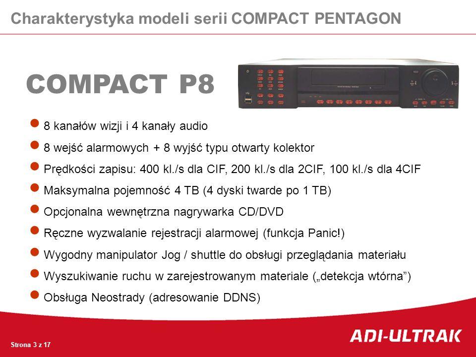 COMPACT P8 8 kanałów wizji i 4 kanały audio 8 wejść alarmowych + 8 wyjść typu otwarty kolektor Prędkości zapisu: 400 kl./s dla CIF, 200 kl./s dla 2CIF