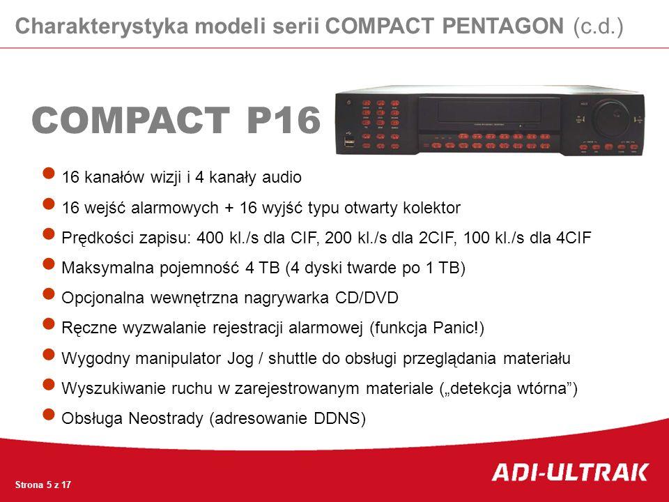 COMPACT P16 Strona 5 z 17 16 kanałów wizji i 4 kanały audio 16 wejść alarmowych + 16 wyjść typu otwarty kolektor Prędkości zapisu: 400 kl./s dla CIF,