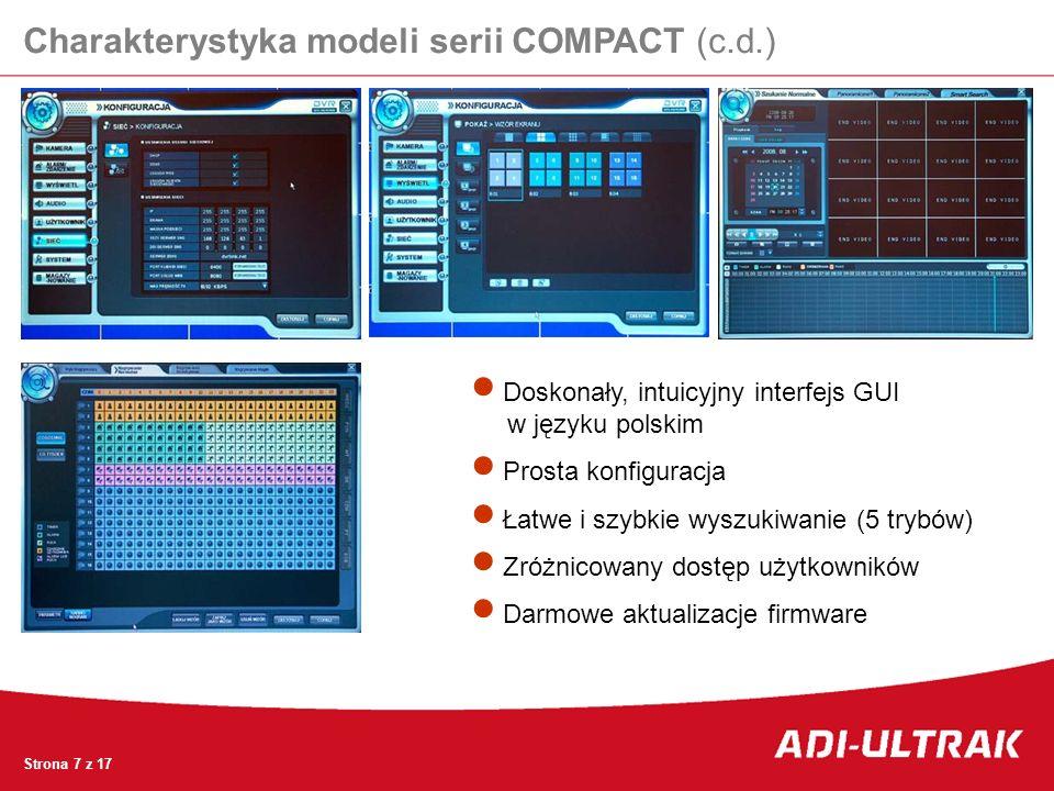 Charakterystyka modeli serii COMPACT (c.d.) Doskonały, intuicyjny interfejs GUI w języku polskim Prosta konfiguracja Łatwe i szybkie wyszukiwanie (5 t